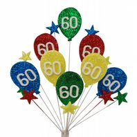 Bright balloons 60th birthday cake topper decoration - free postage